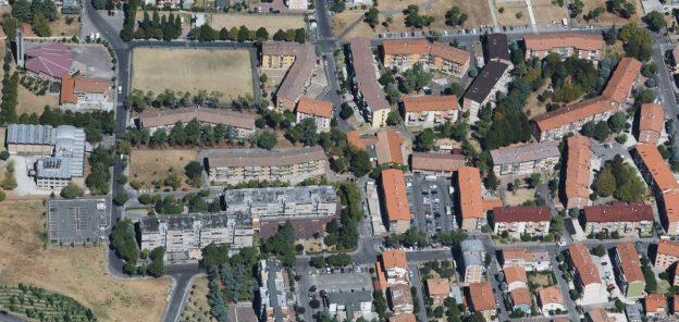 Veduta aerea del quartiere Vigne di Cesena - Foto Bing